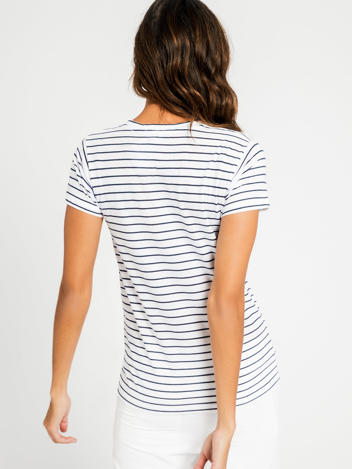 Harper Basic Crew T-Shirt in Navy Stripe