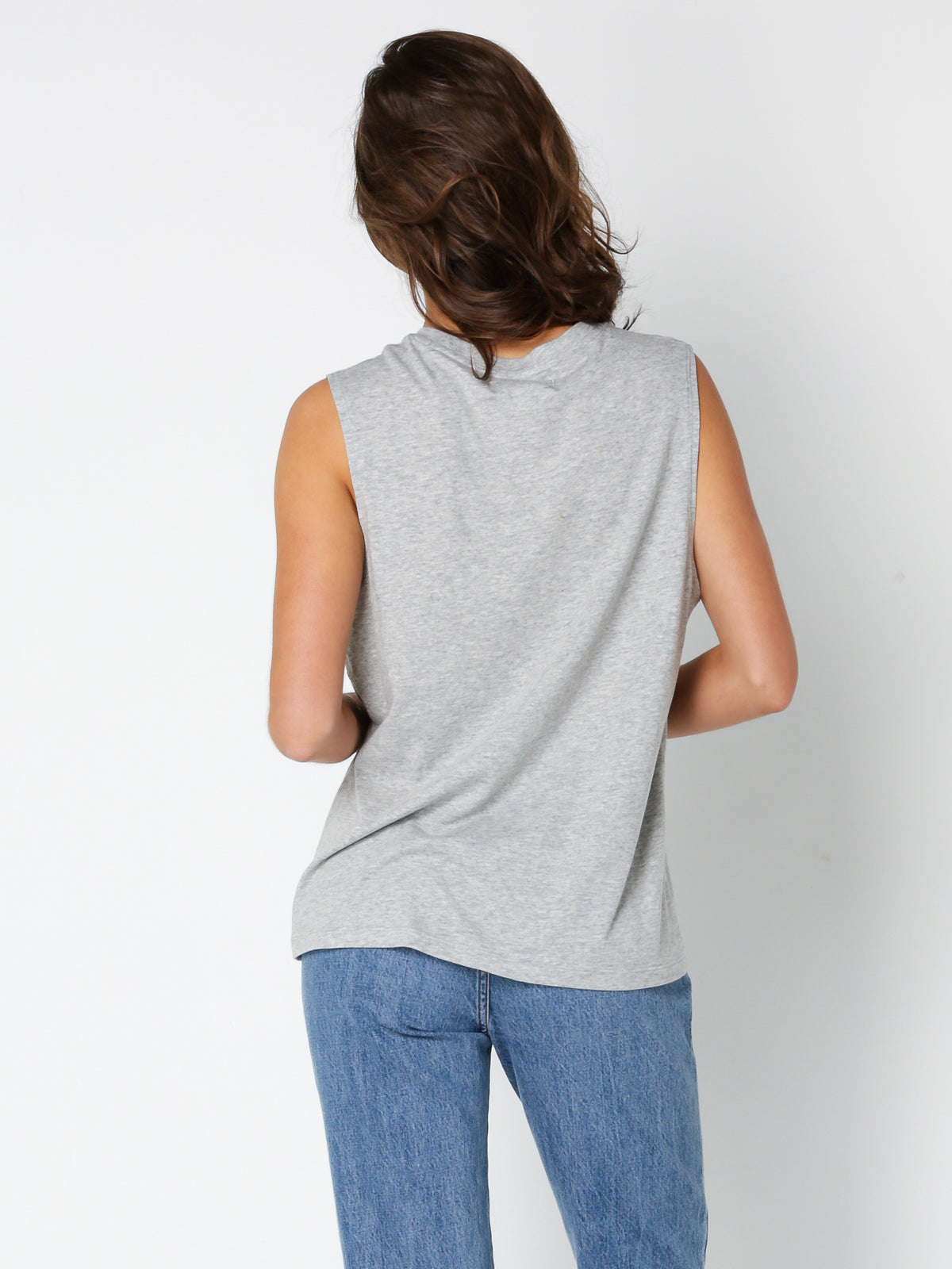Kiera Basic Muscle Tank in Grey Marle