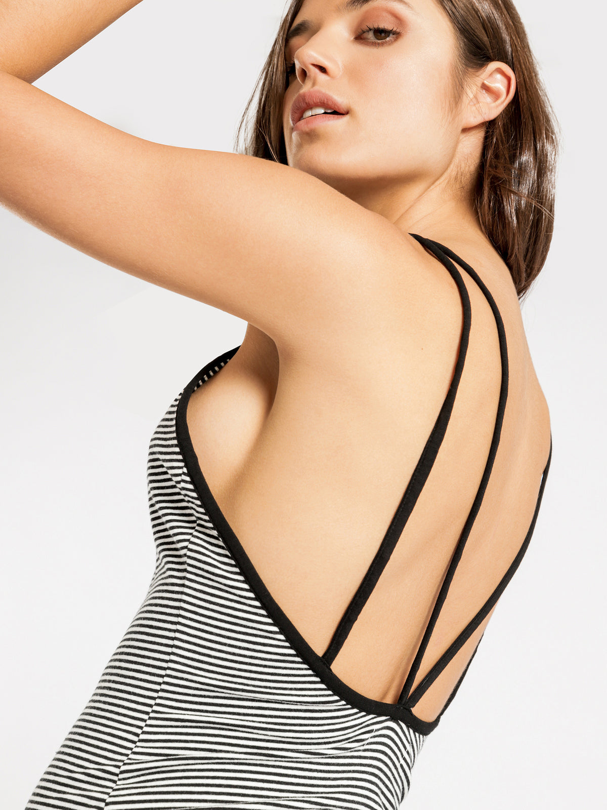 Dillon Mini Dress in Black & White Stripe