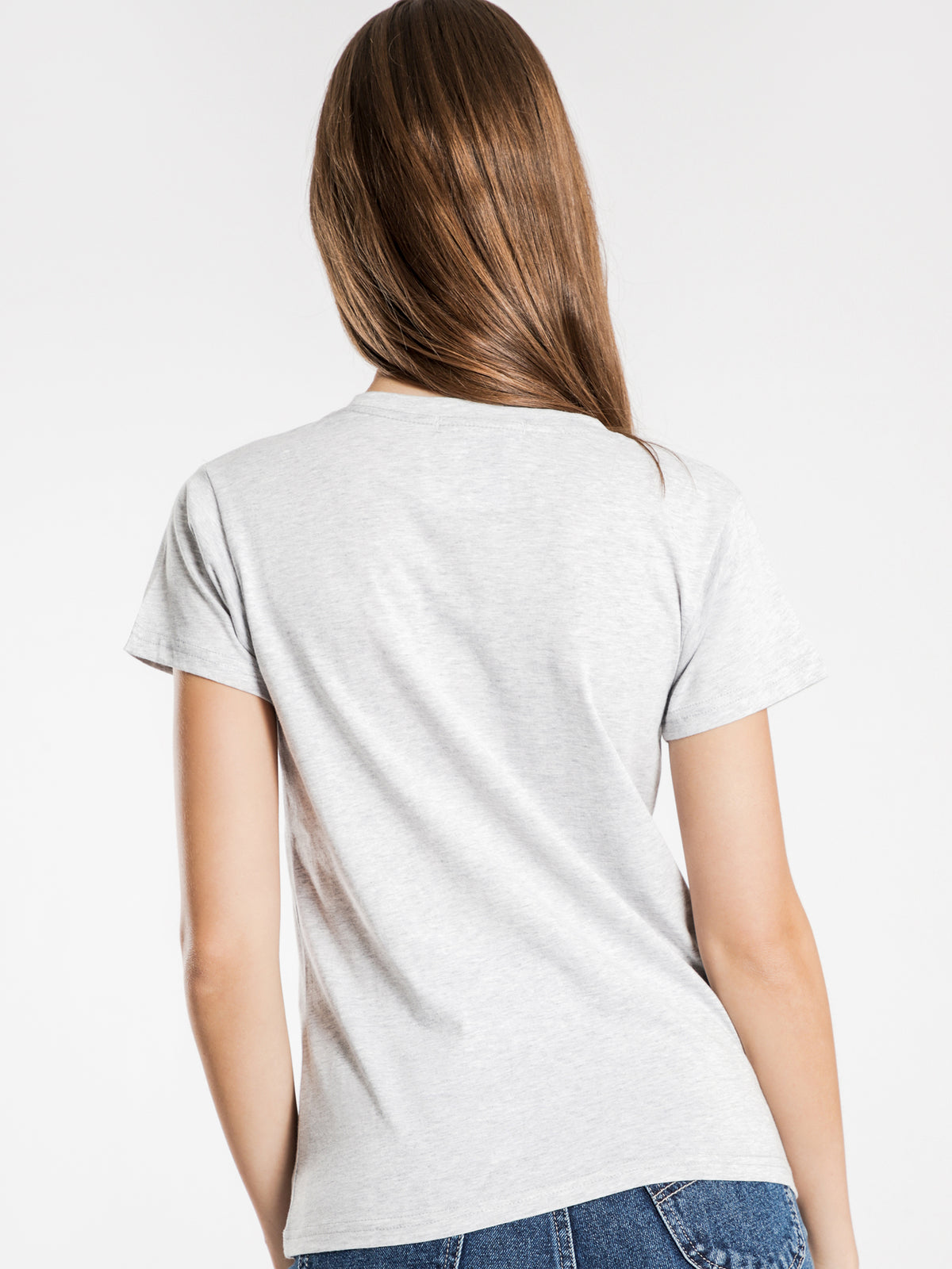 Harper Basic Crew Neck T-Shirt in Grey