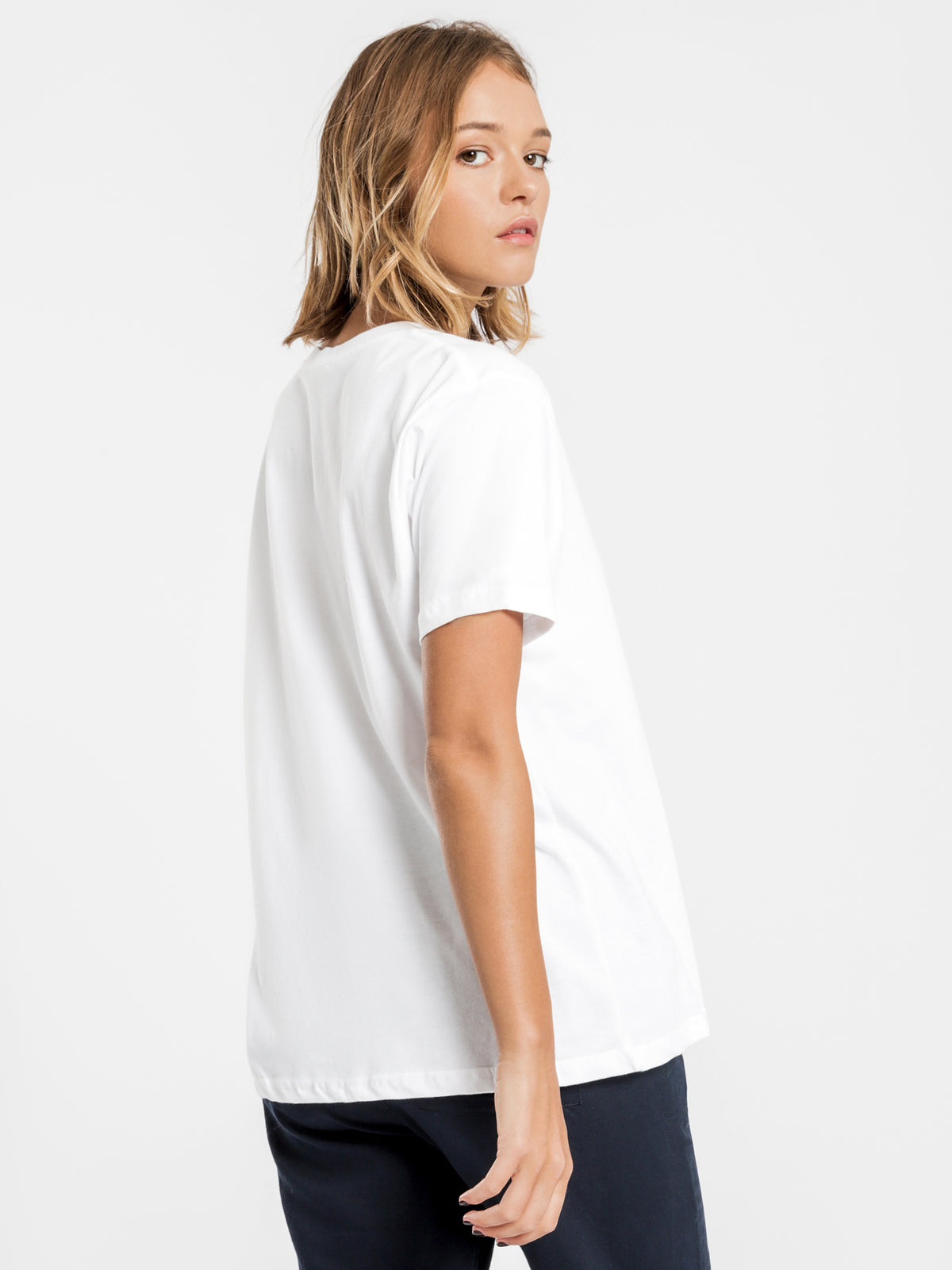Harper Basic Crew Neck T-Shirt in White