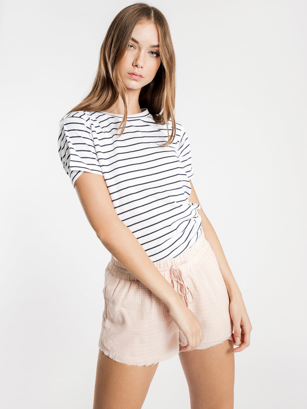 Harper Basic Crew Neck T-Shirt in Navy Stripe