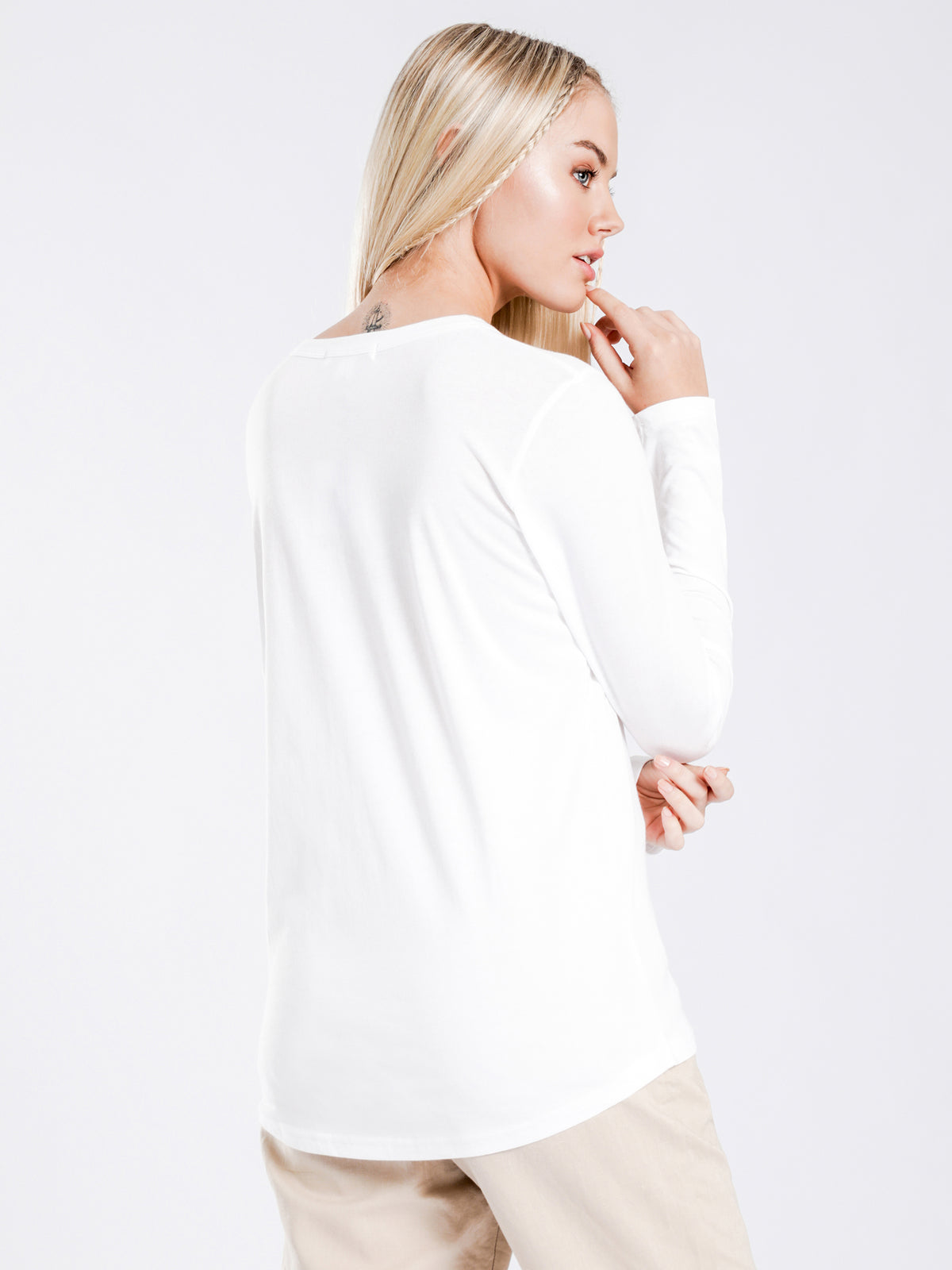 Ava Long Sleeve Top in White
