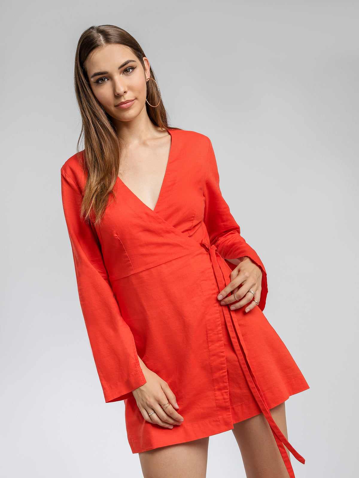 Medina Wrap Dress in Sienna Orange