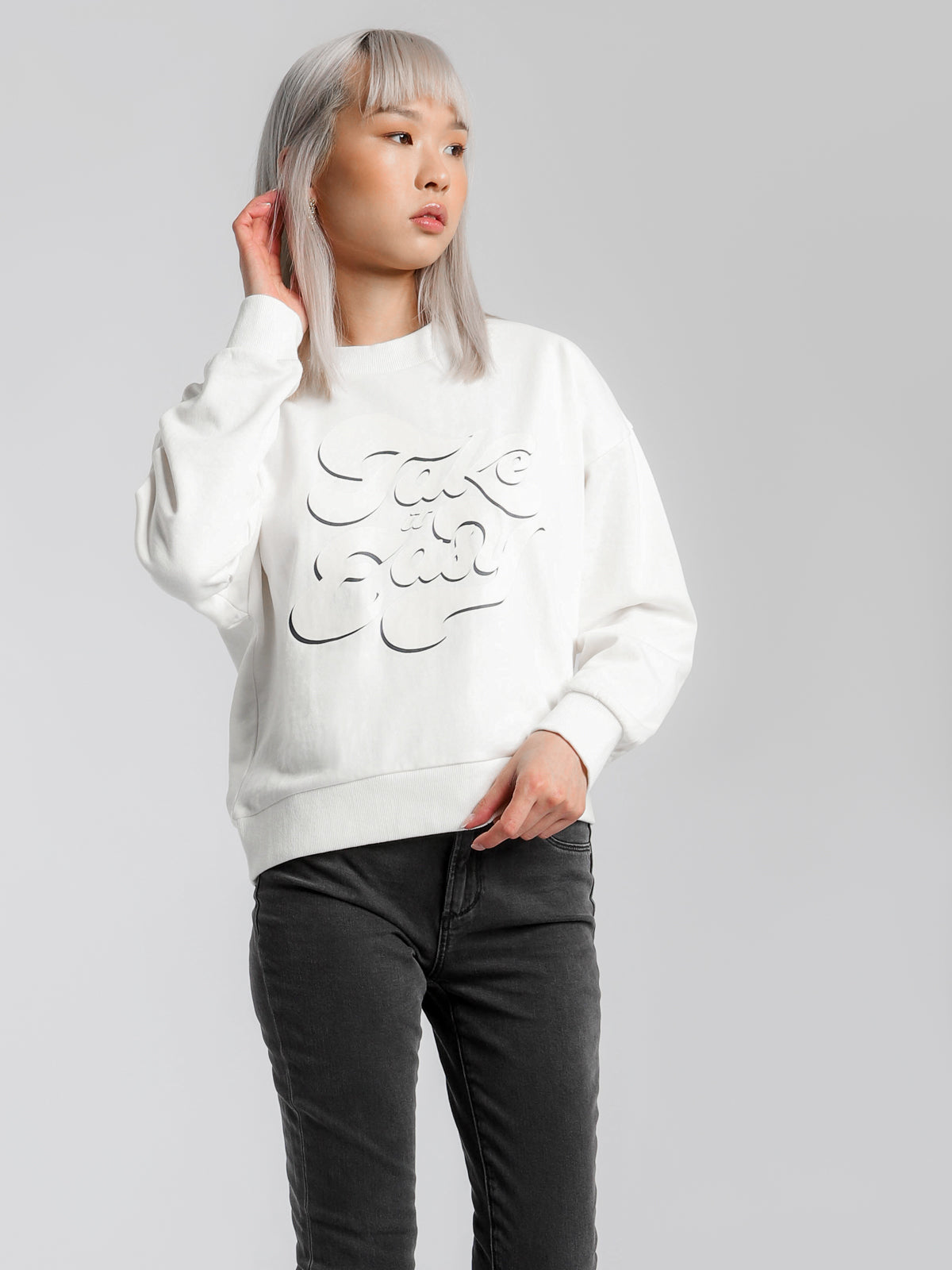 Take It Easy Sweatshirt in Off White
