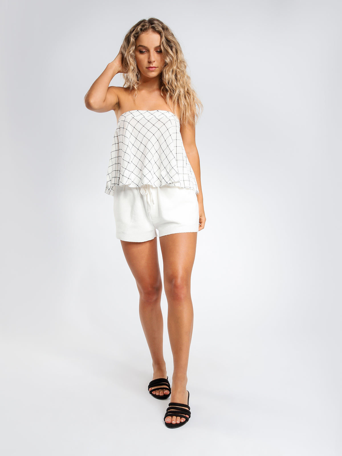 Blair Textured Shorts in White