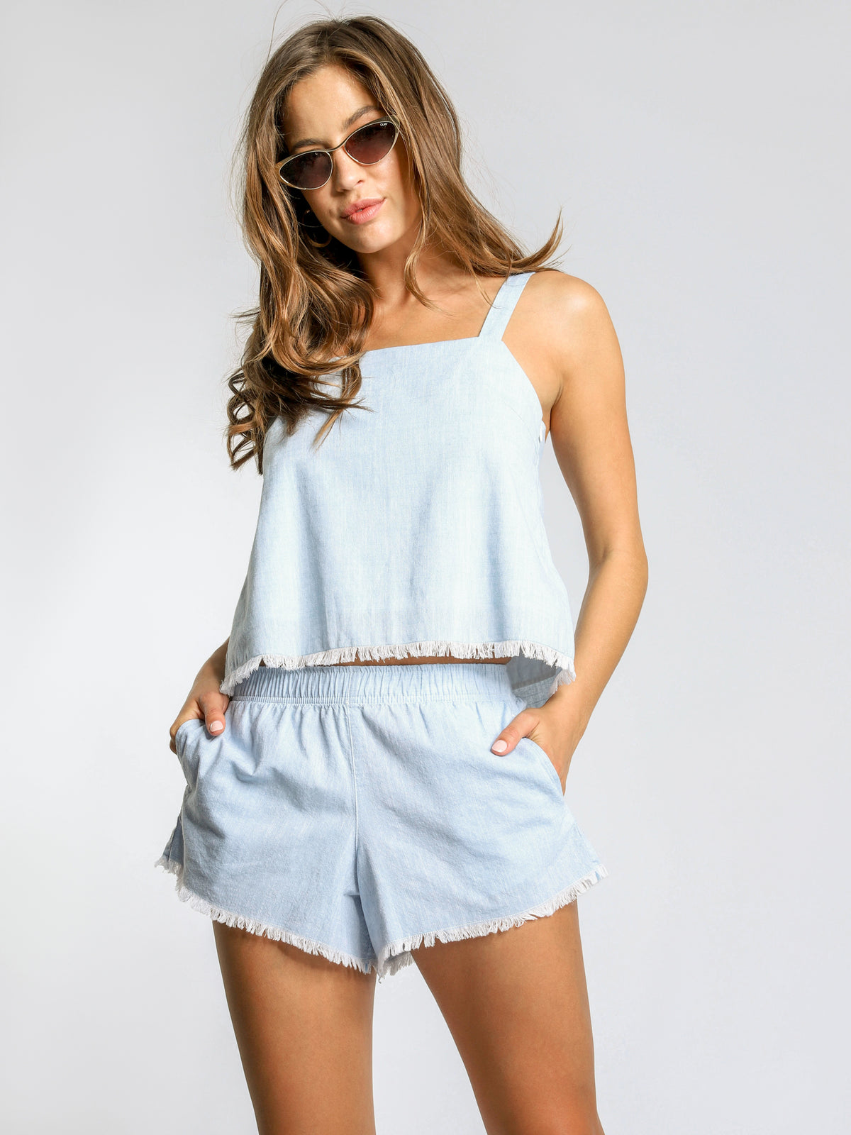 Bedford Chambray Shorts in Sky Blue