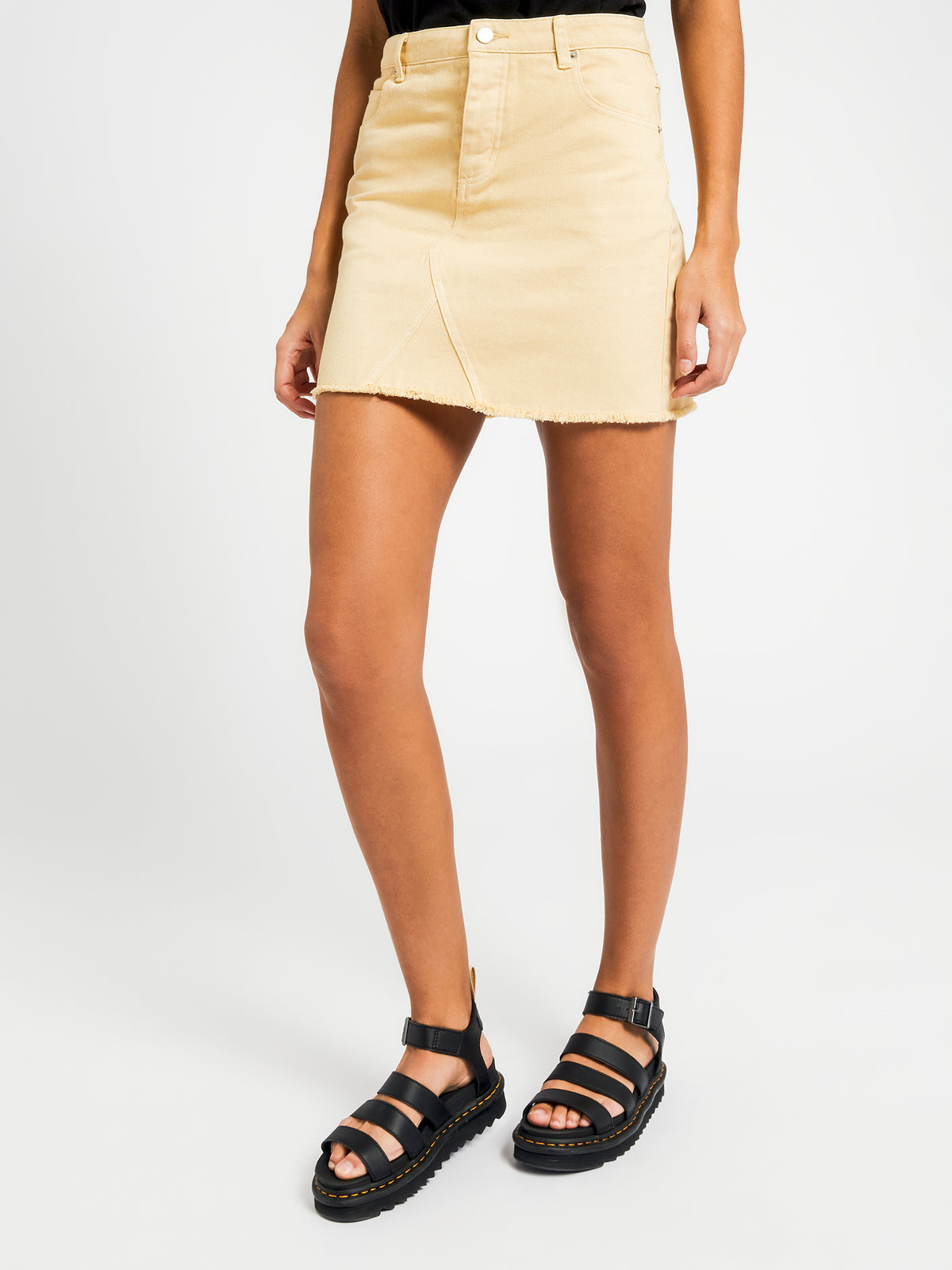 Brunswick Denim Skirt in Lemon