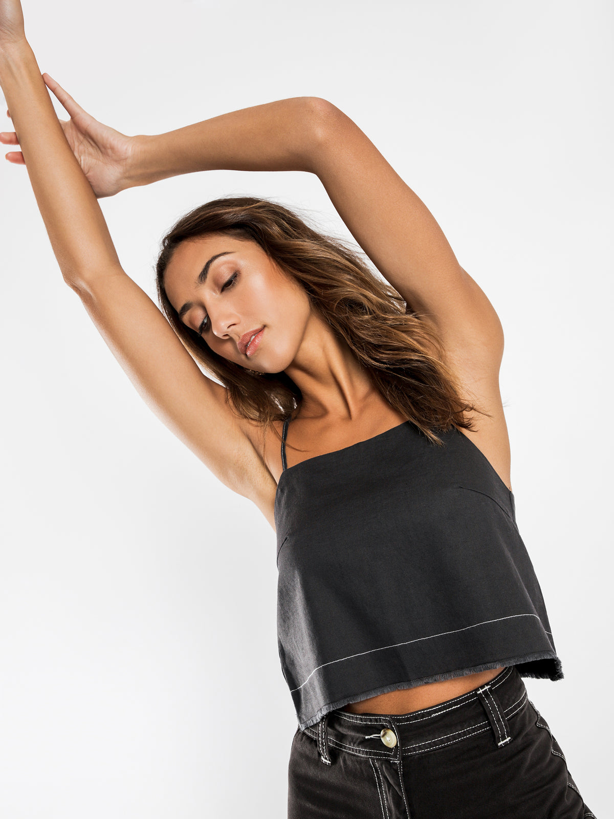 Grace Contrast Stitch Cami in Coal
