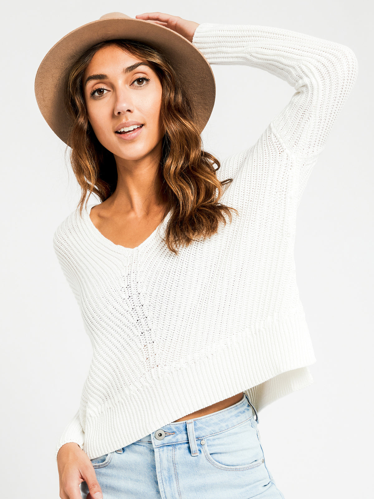 Carmen V Neck Jumper in Off White