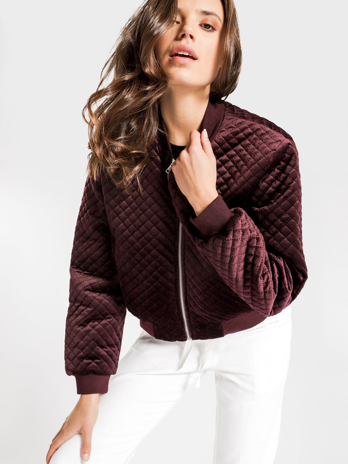 New Frankie Bomber Jacket in Berry