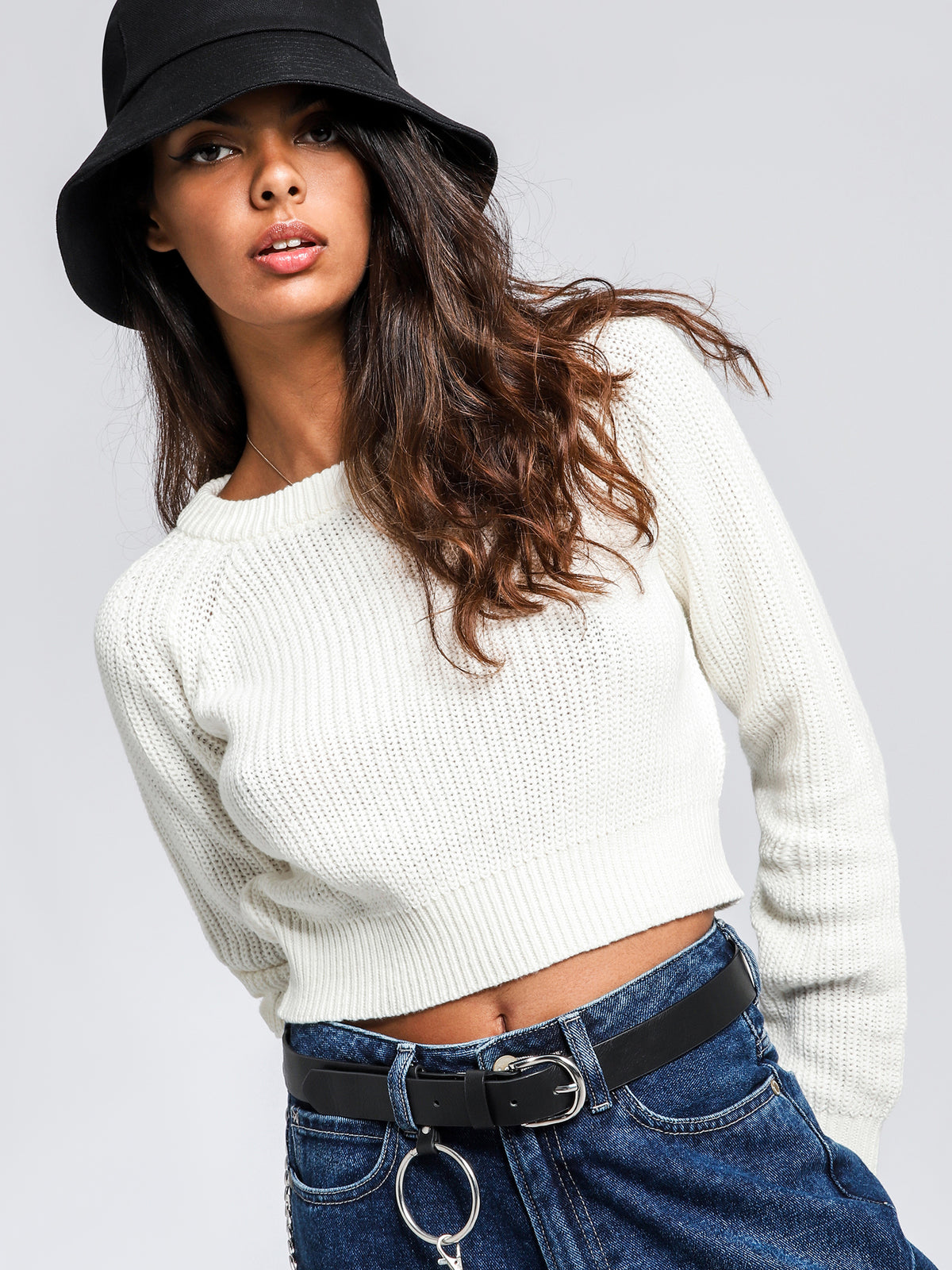 Brooklyn Crop Knit Sweater in Off White