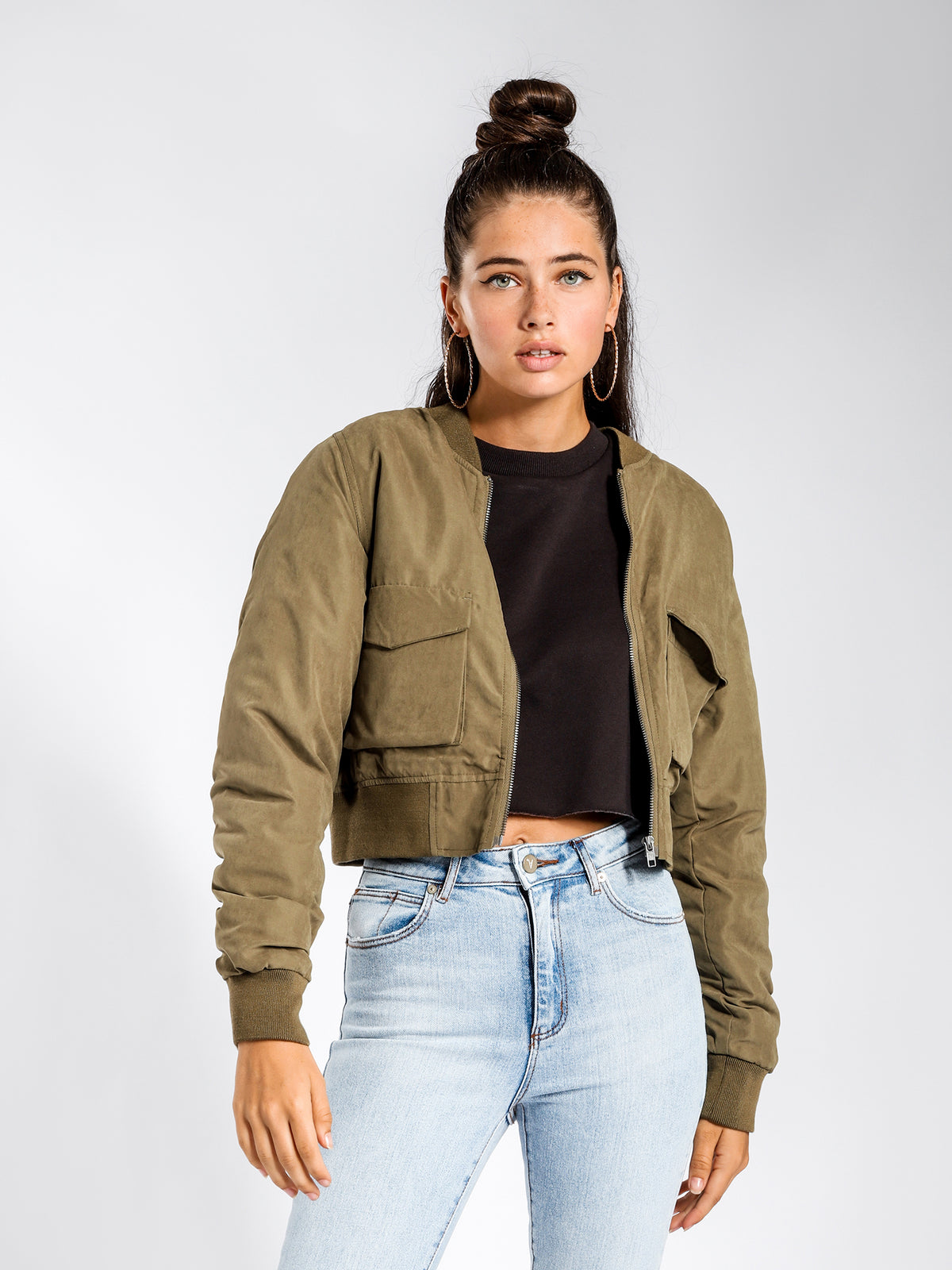 Avril Utility Bomber Jacket in Olive Green