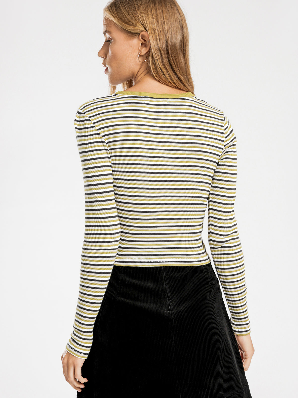 Haines Long Sleeve T-Shirt in Moss Stripe