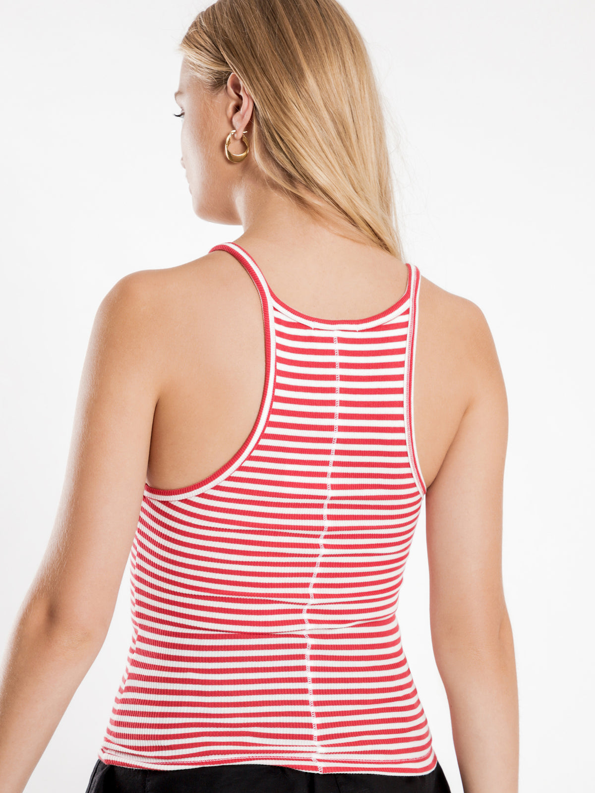 Charlie Rib Tank in Red Stripe