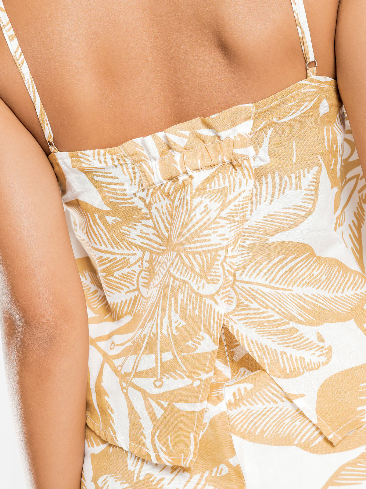 Marley Linen Cami in Mustard Palm Print