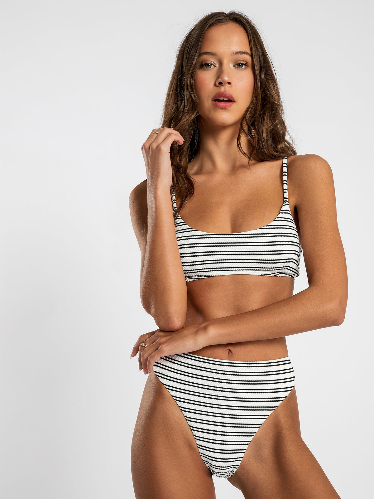 High-Waisted Bikini Briefs in Black & White Stripe