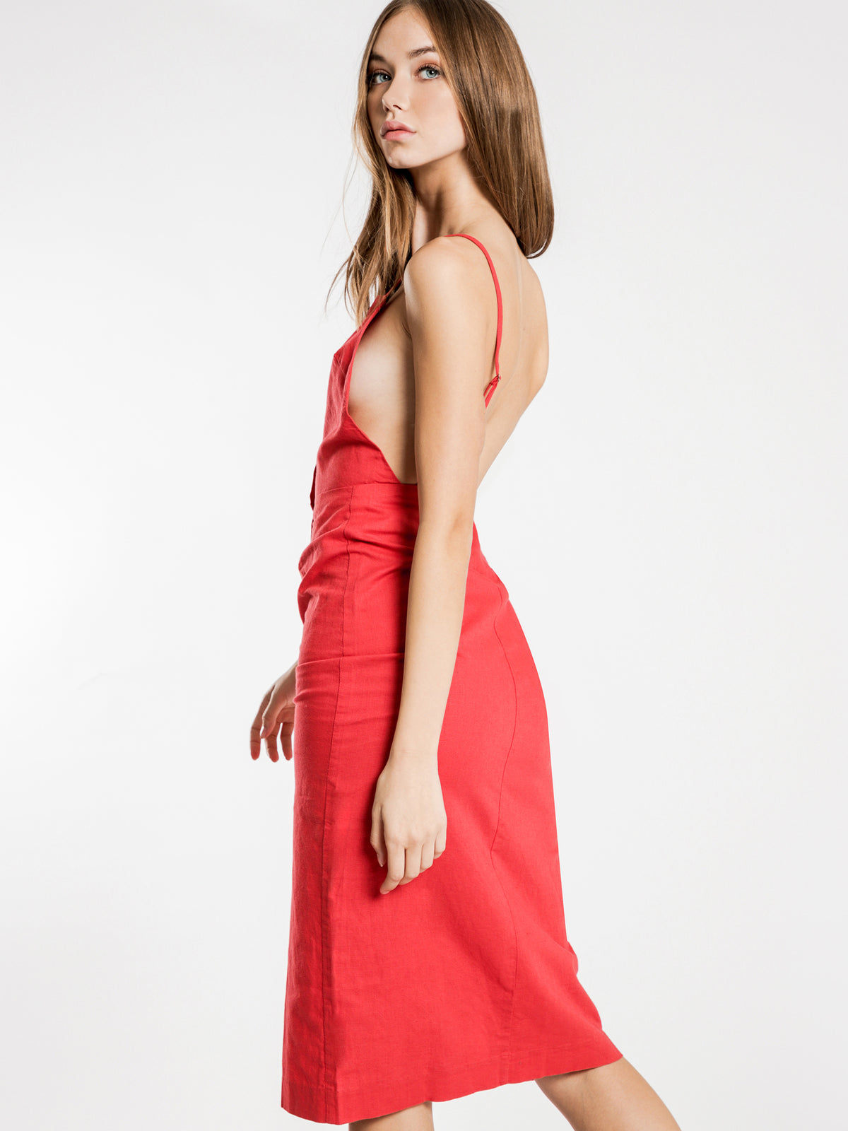 Isla Linen Midi Dress in Tomato