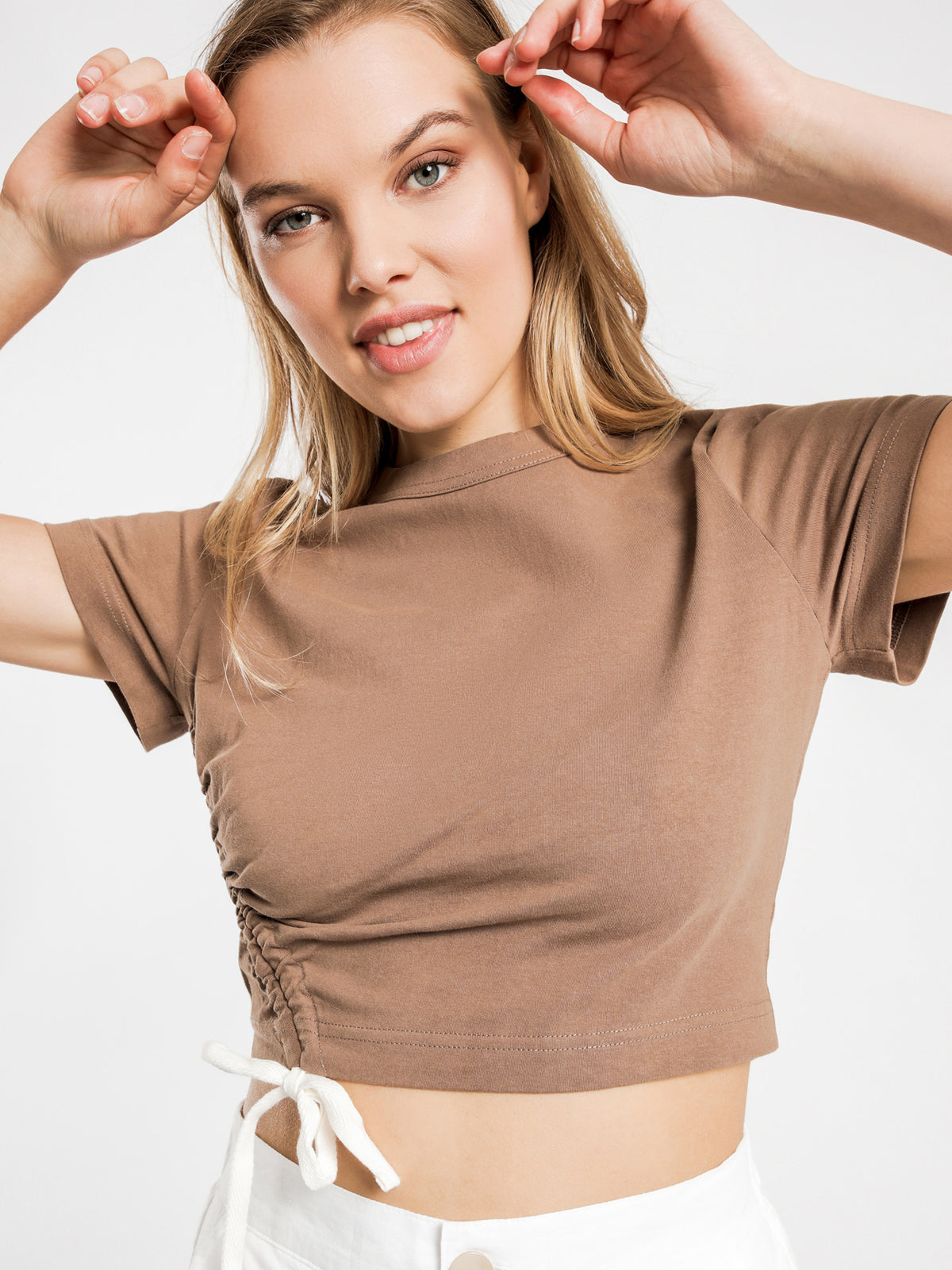 Brea Drawstring T-Shirt in Chocolate
