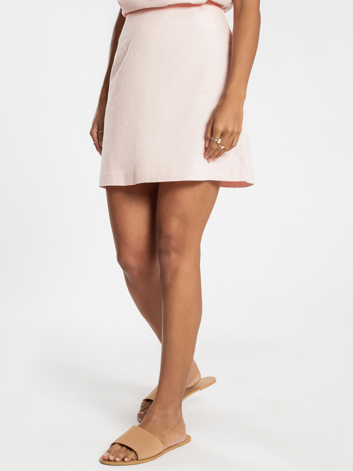 Darcy Linen Skirt in Pink Shell
