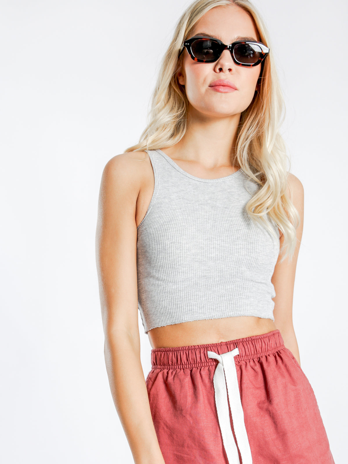 Annie Waffle Tank Top in Grey