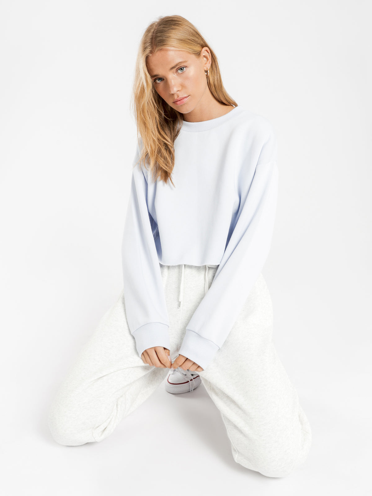Carter Classic Crop Sweater in Sky