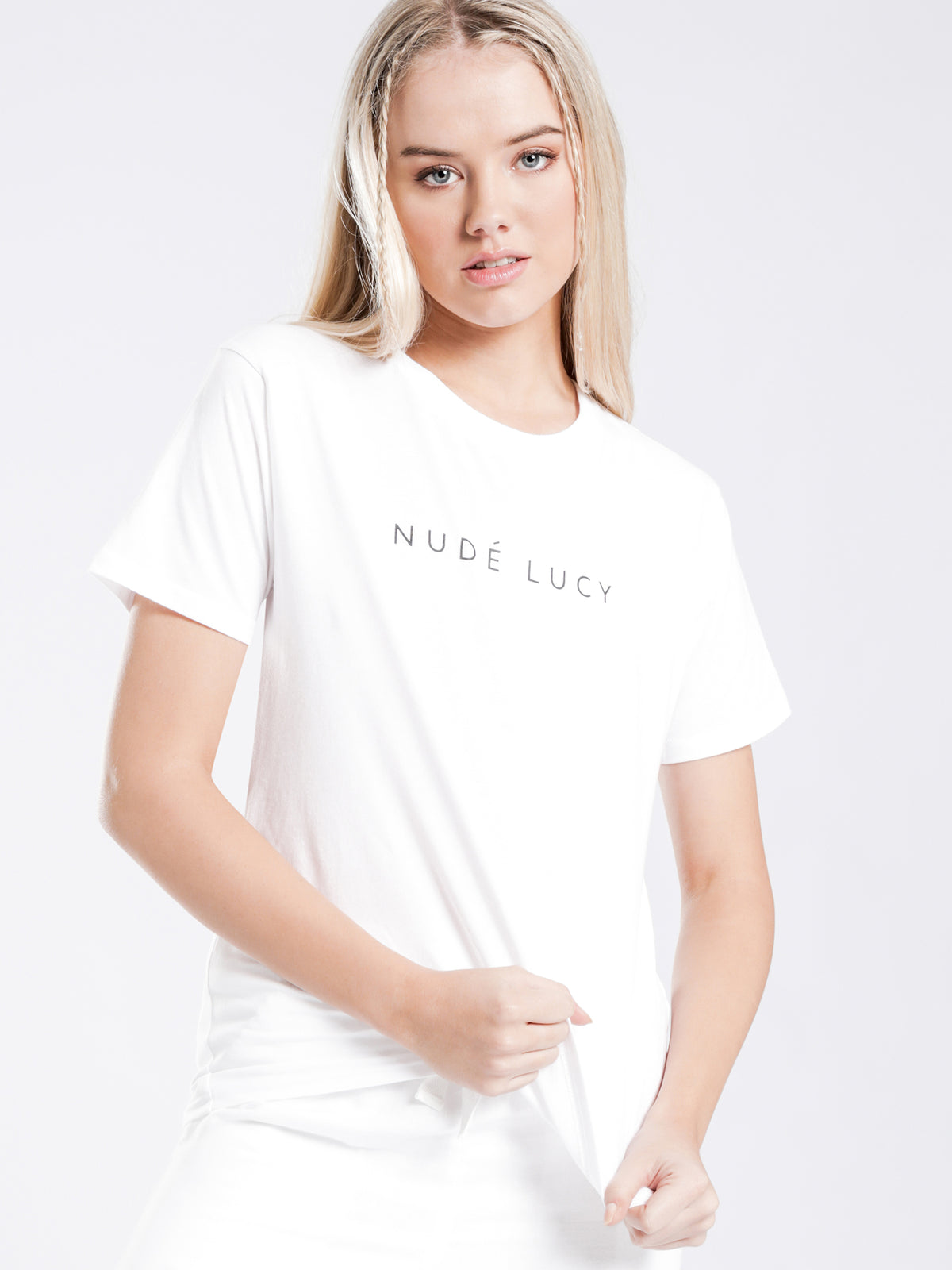 Nude Lucy Slogan T-Shirt in White