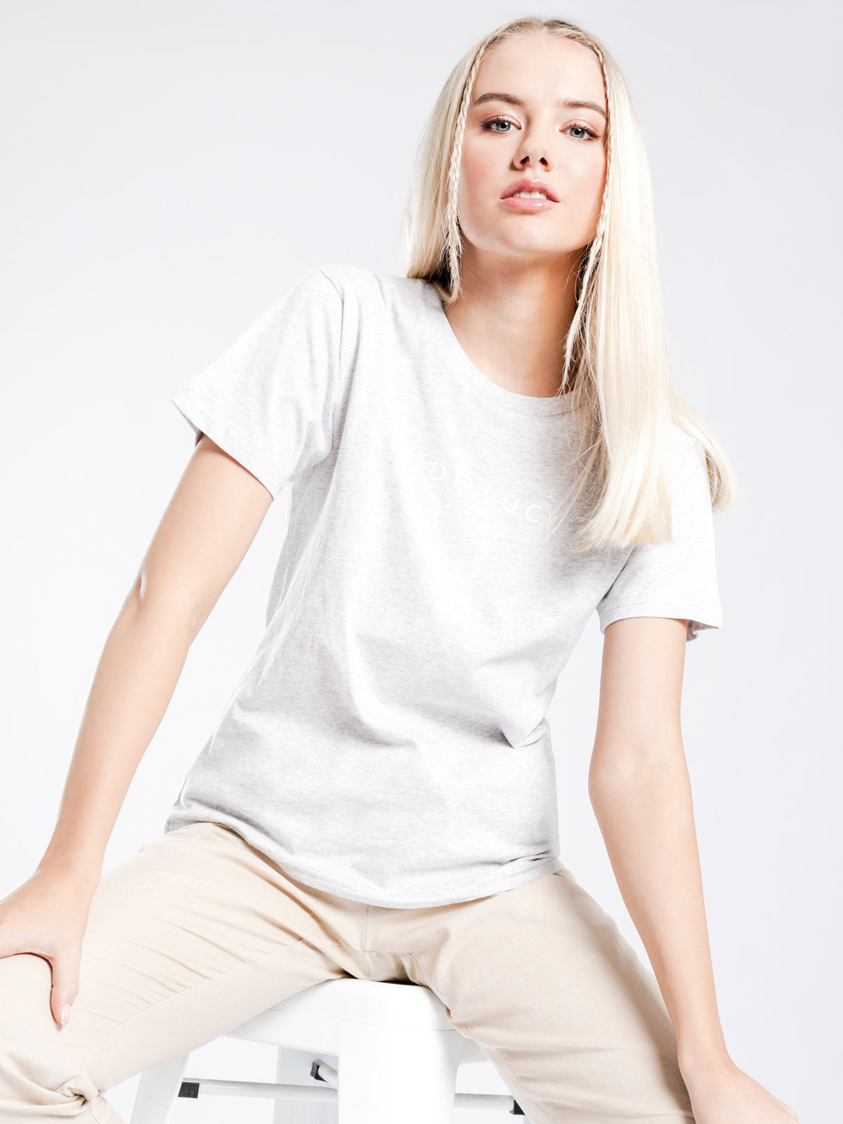Nude Logo T-Shirt in Grey Marle