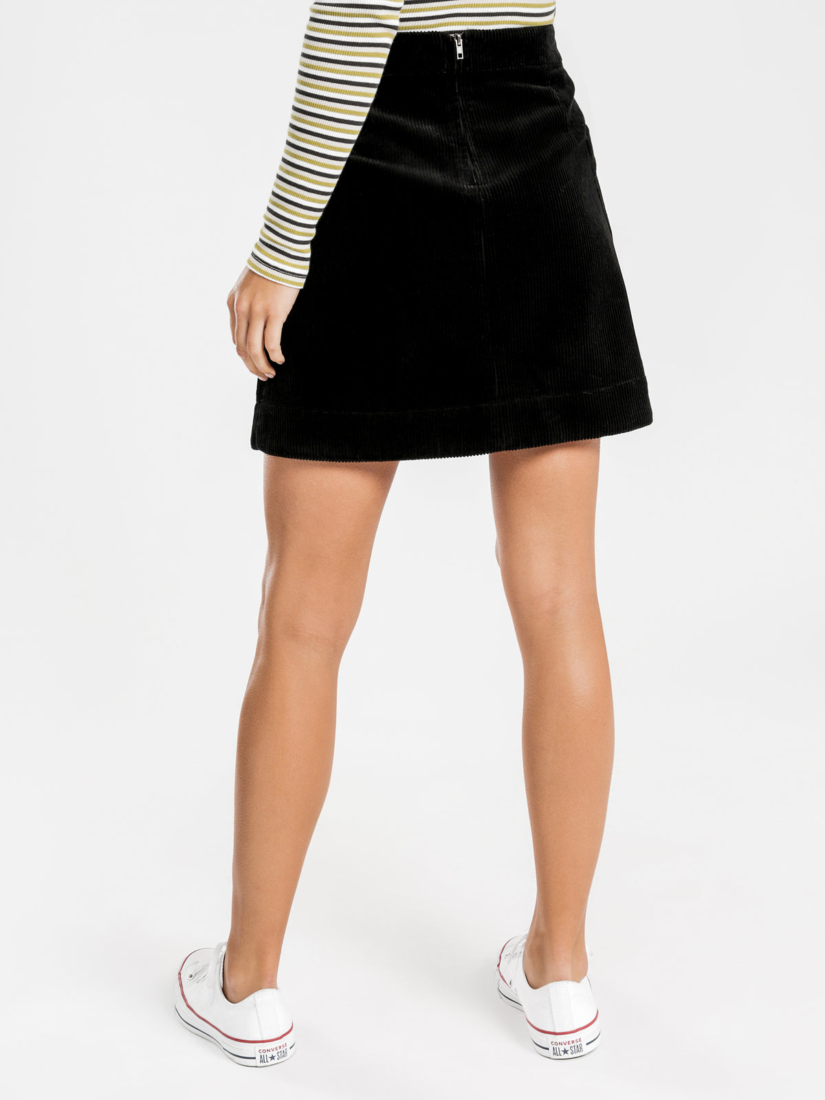 Corduroy Mini Skirt in Black