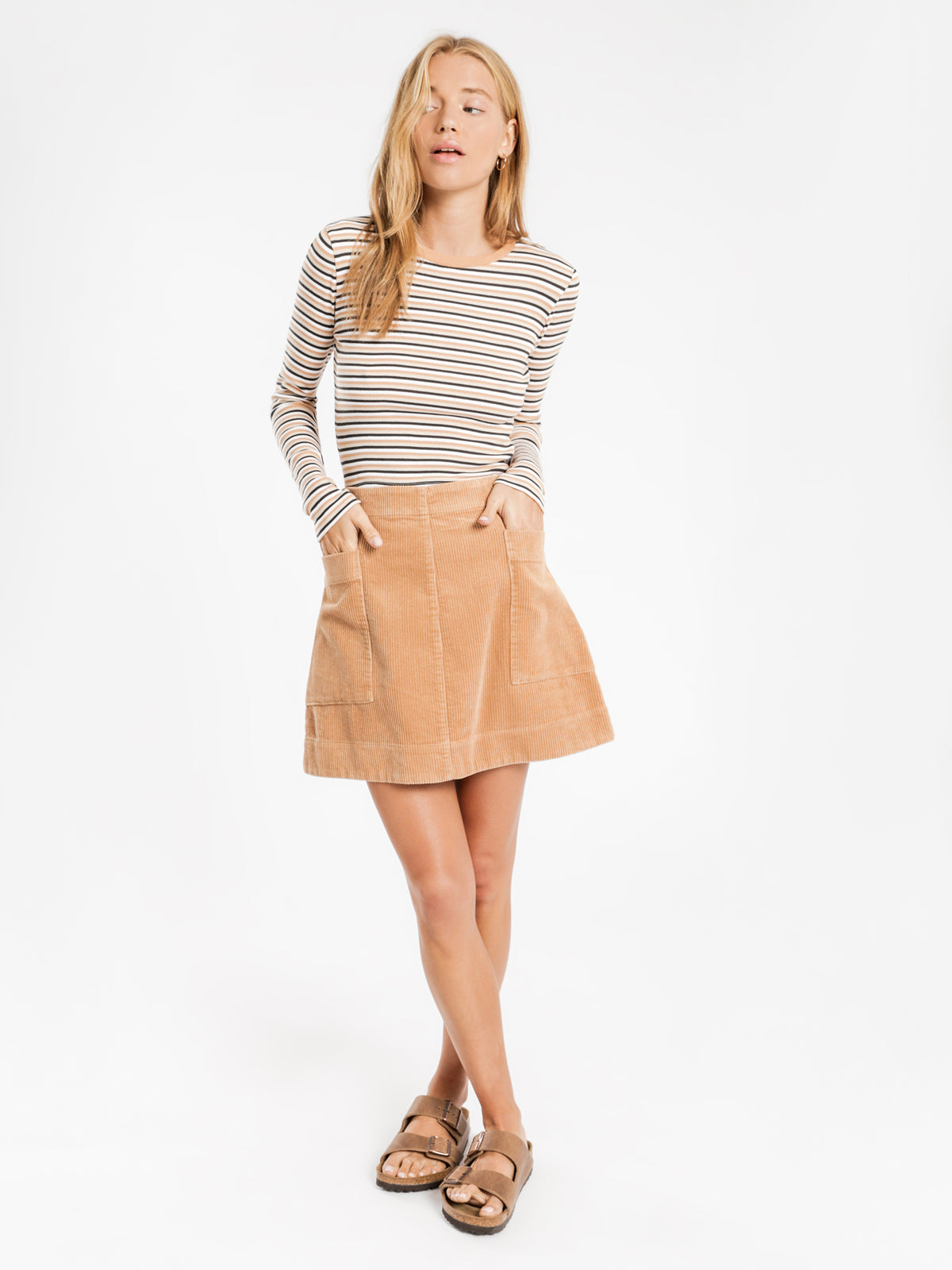 Corduroy Mini Skirt in Sand
