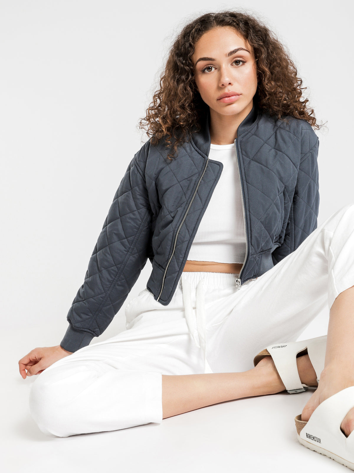Dahlia Bomber Jacket in Navy