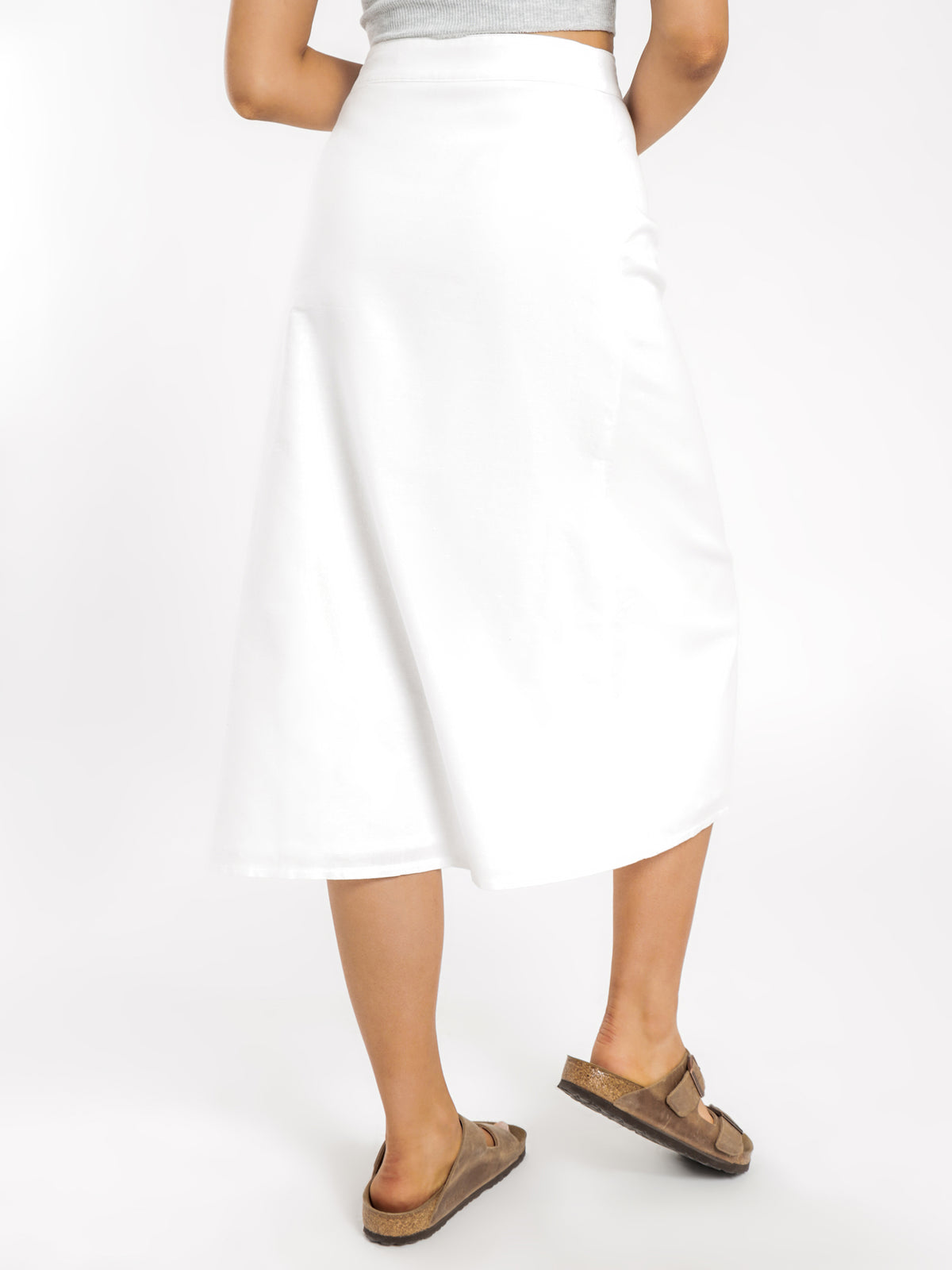 Kora Linen Midi Skirt in White