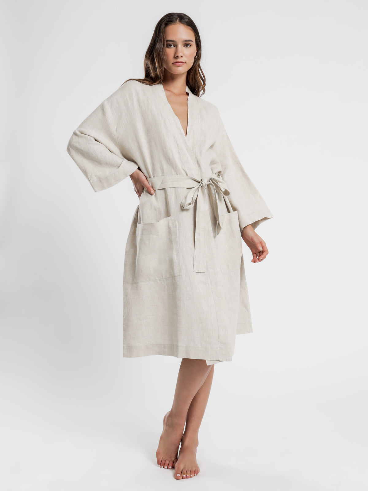 Linen Lounge Robe in Natural