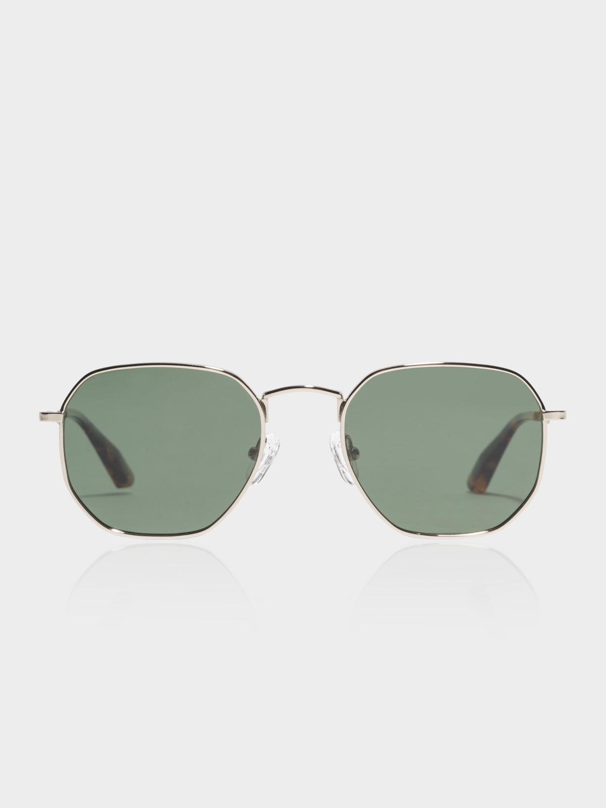 DXB Polarised Sunglasses in Polished Gold & Dark Green