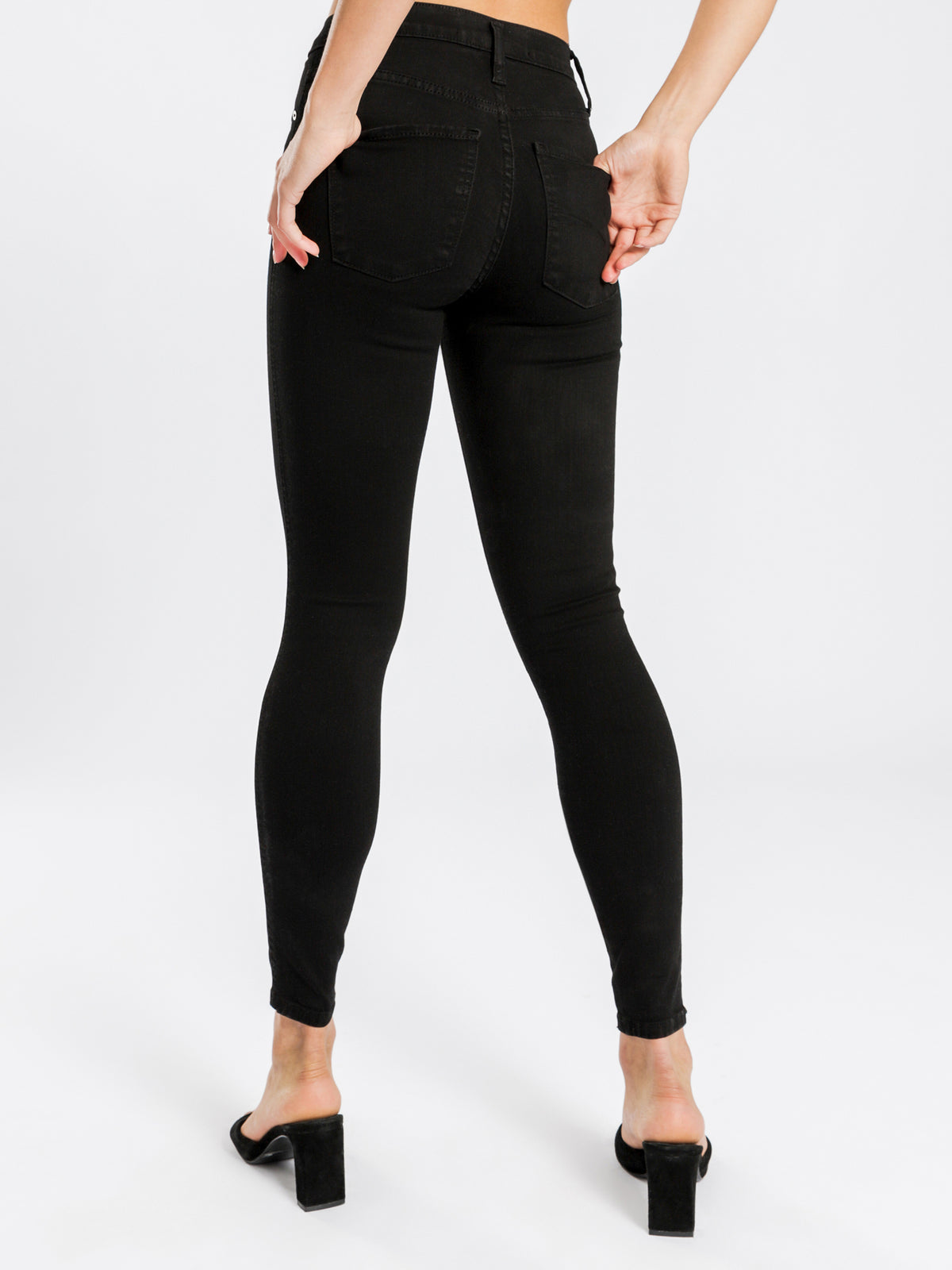 Cult Skinny High-Rise Ankle Jeans in Power Black Denim