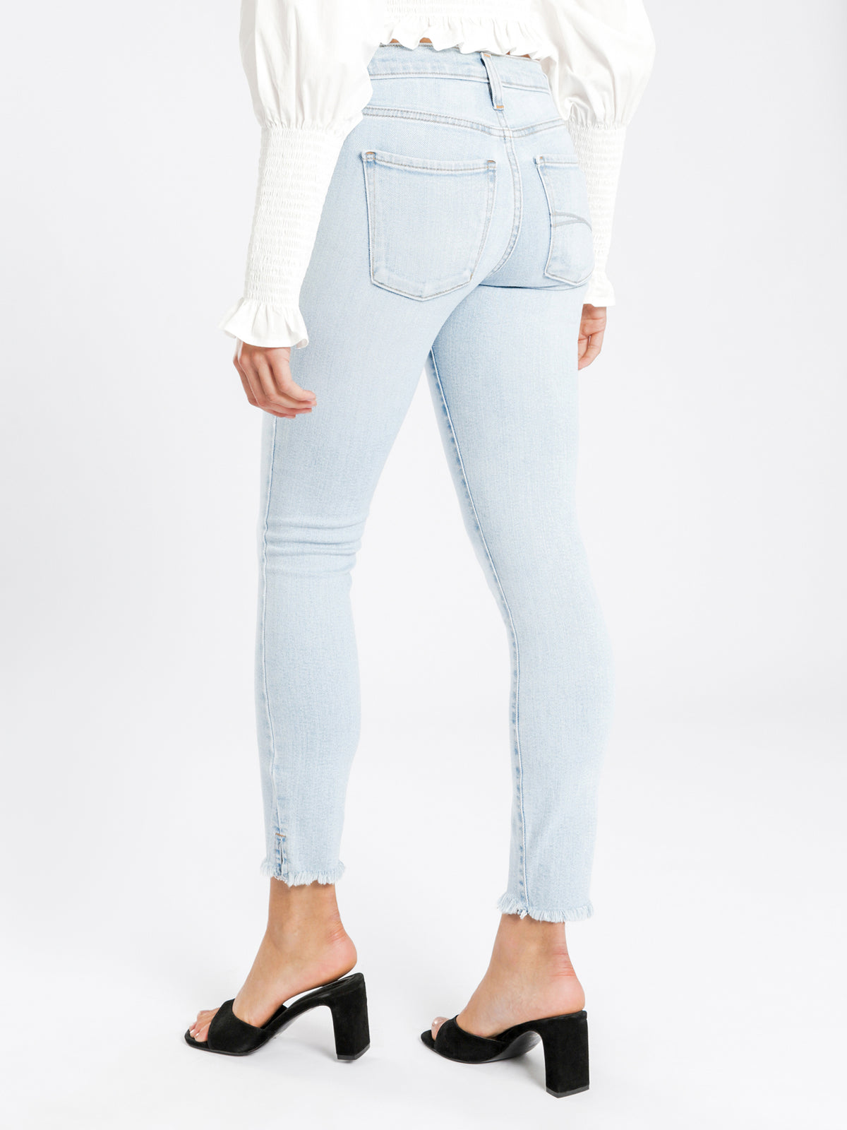 Geo Mid-Rise Skinny Ankle Jeans in Light Authentic Blue Denim