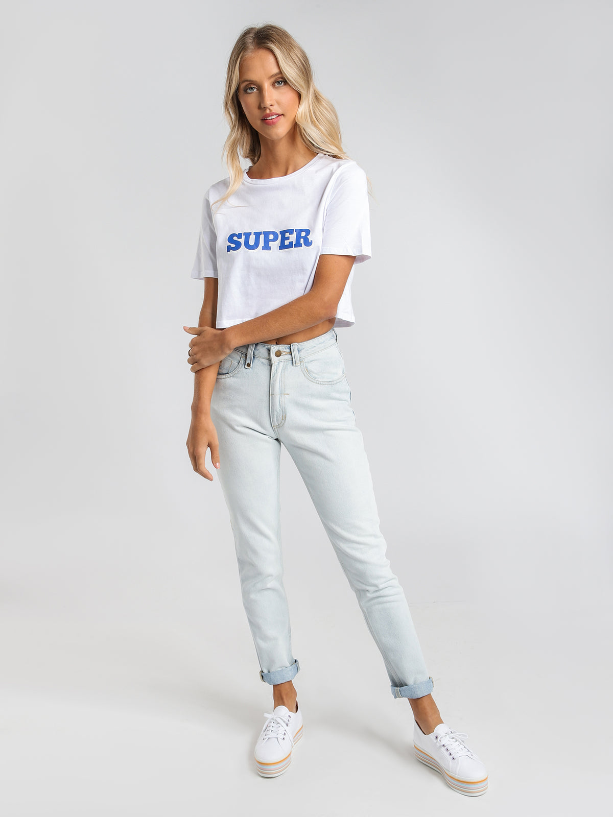 Super Cropped T-Shirt in White