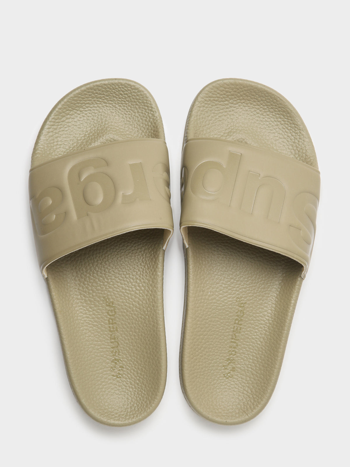 Unisex 1908 Logo Rubber Slides in Taupe