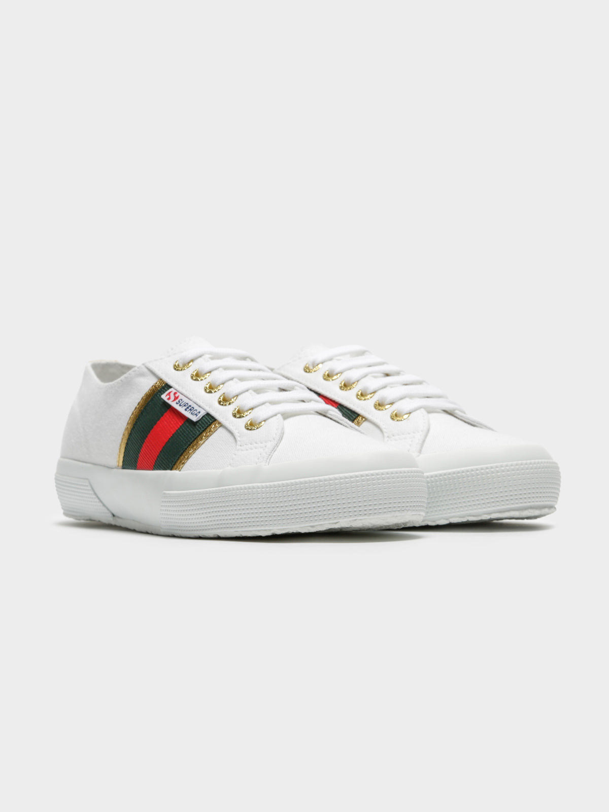 Womens 2750 Cotuflagside Sneakers in White & Green