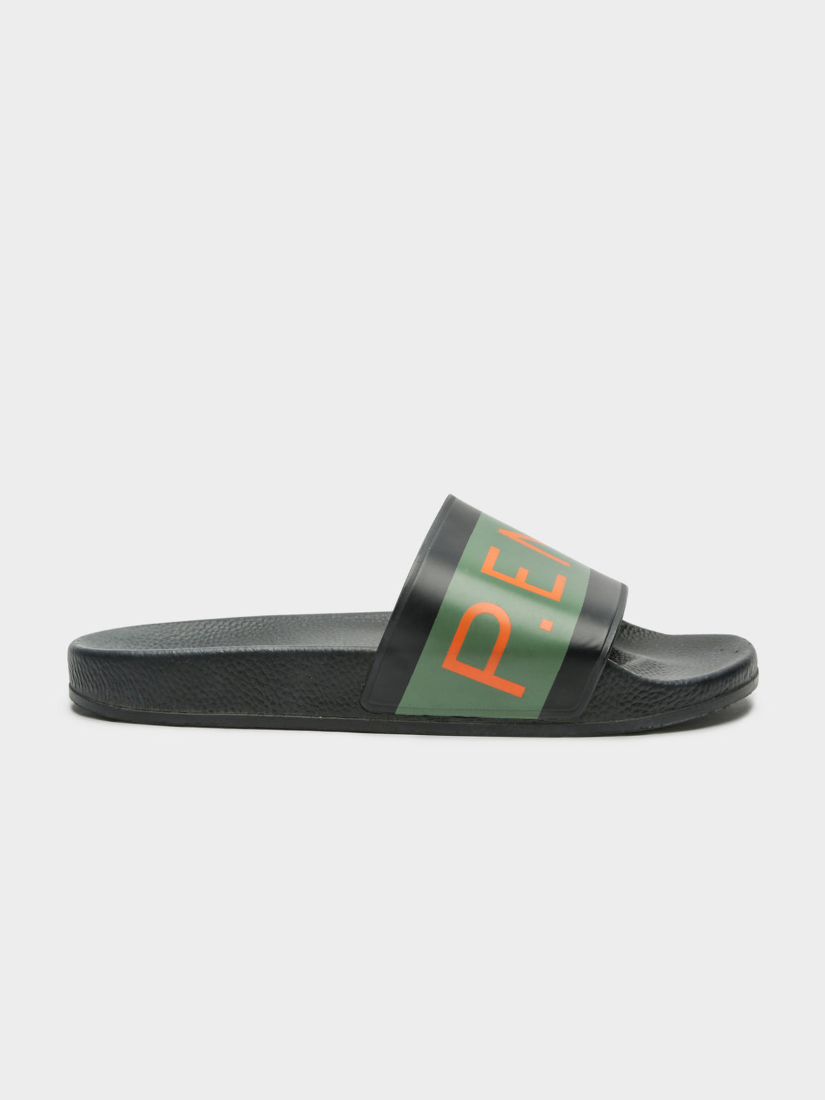 Womens P.E. Nation 1908 Big Logo Slides in Khaki Green & Black