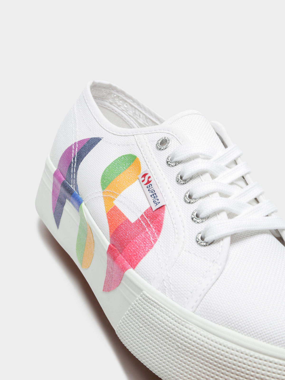 Womens 2790 Cotw Rainbow Logo Sneakers in Glitter Rainbow & White