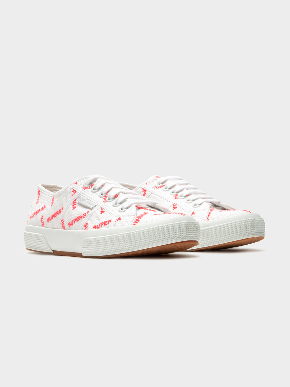 Womens 2750 Cotuem Logo Sneakers in White & Red Fluro