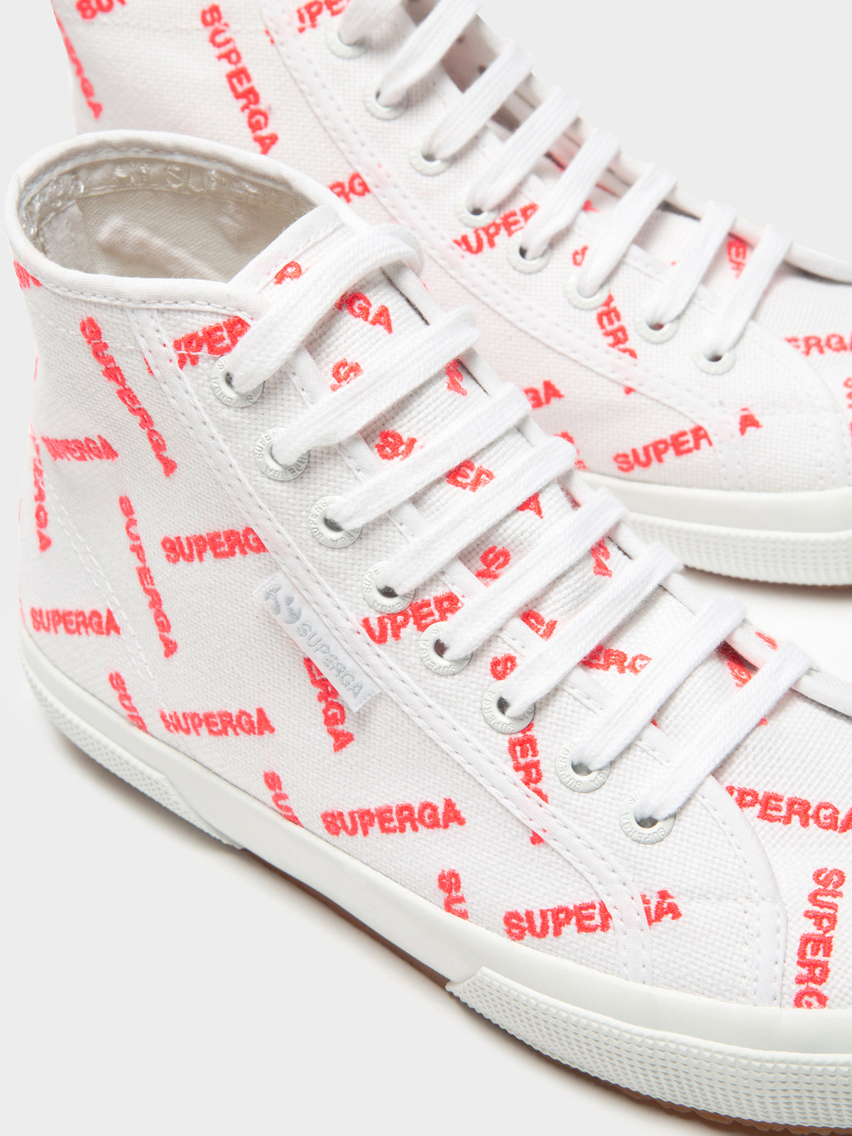 2795 Cotumb Logo High Top Sneakers in White & Red