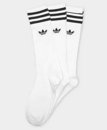3 Pairs of Solid Crew Socks in White