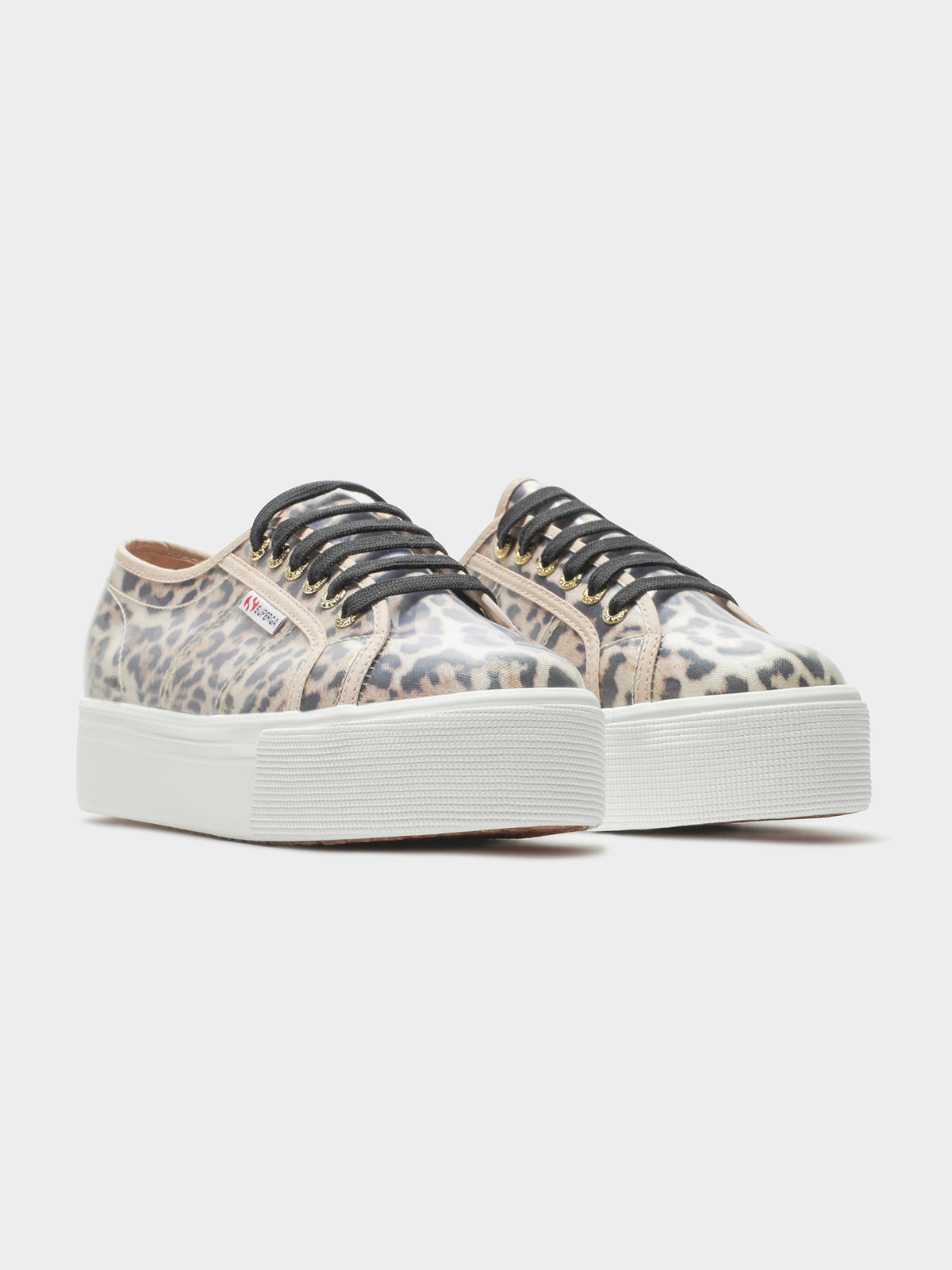 Womens 2790 COT Transparent Printed Platform Sneakers in Beige Jaguar Print