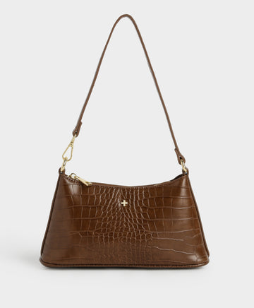 Danni Croc Shoulder Bag in Chocolate