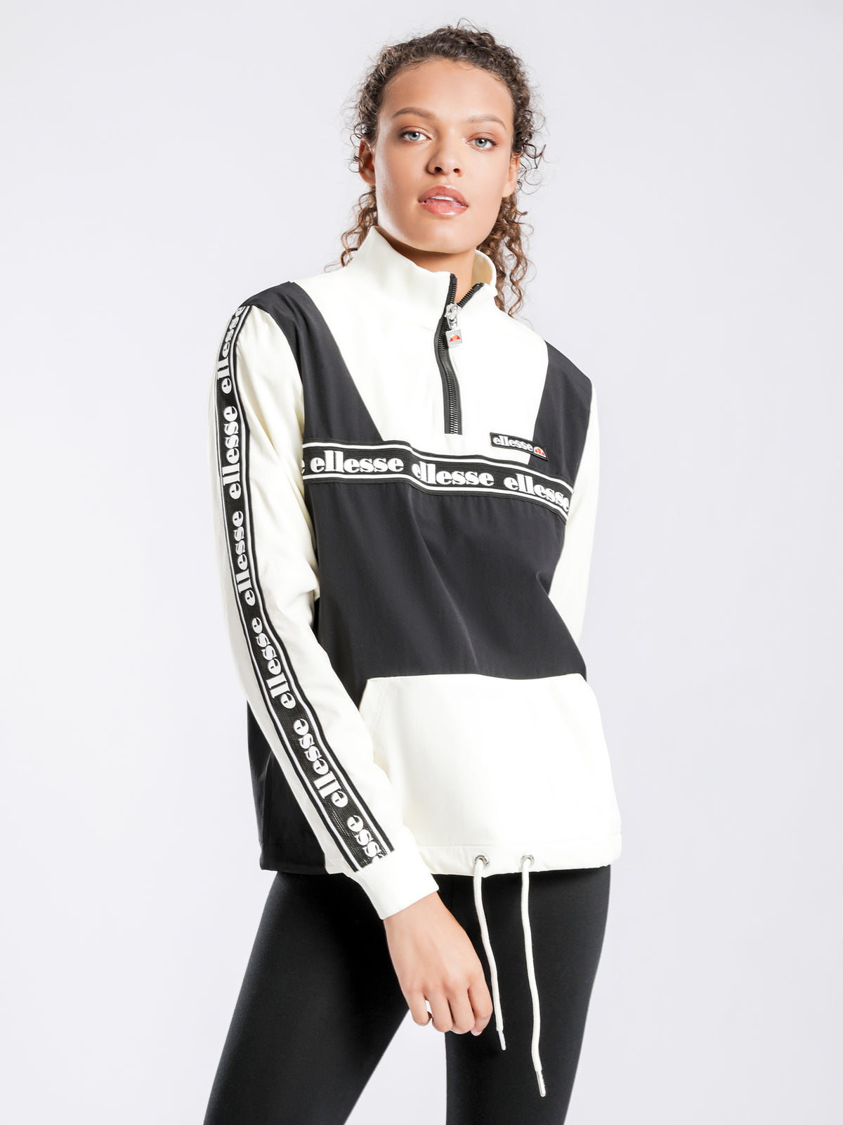 Erna Zip Jacket in Black & Off White