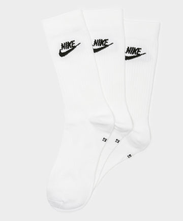 3 Pairs of Everyday Essential Crew Socks in White & Black