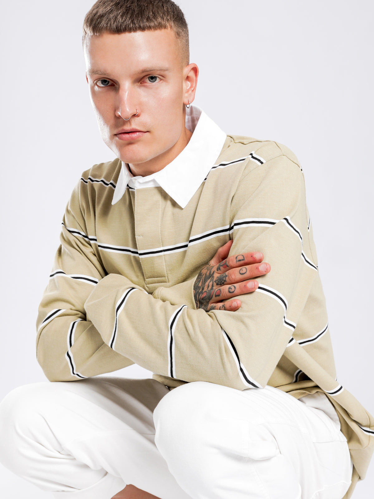 Filmore Stripe Rugby Shirt in Light Sand