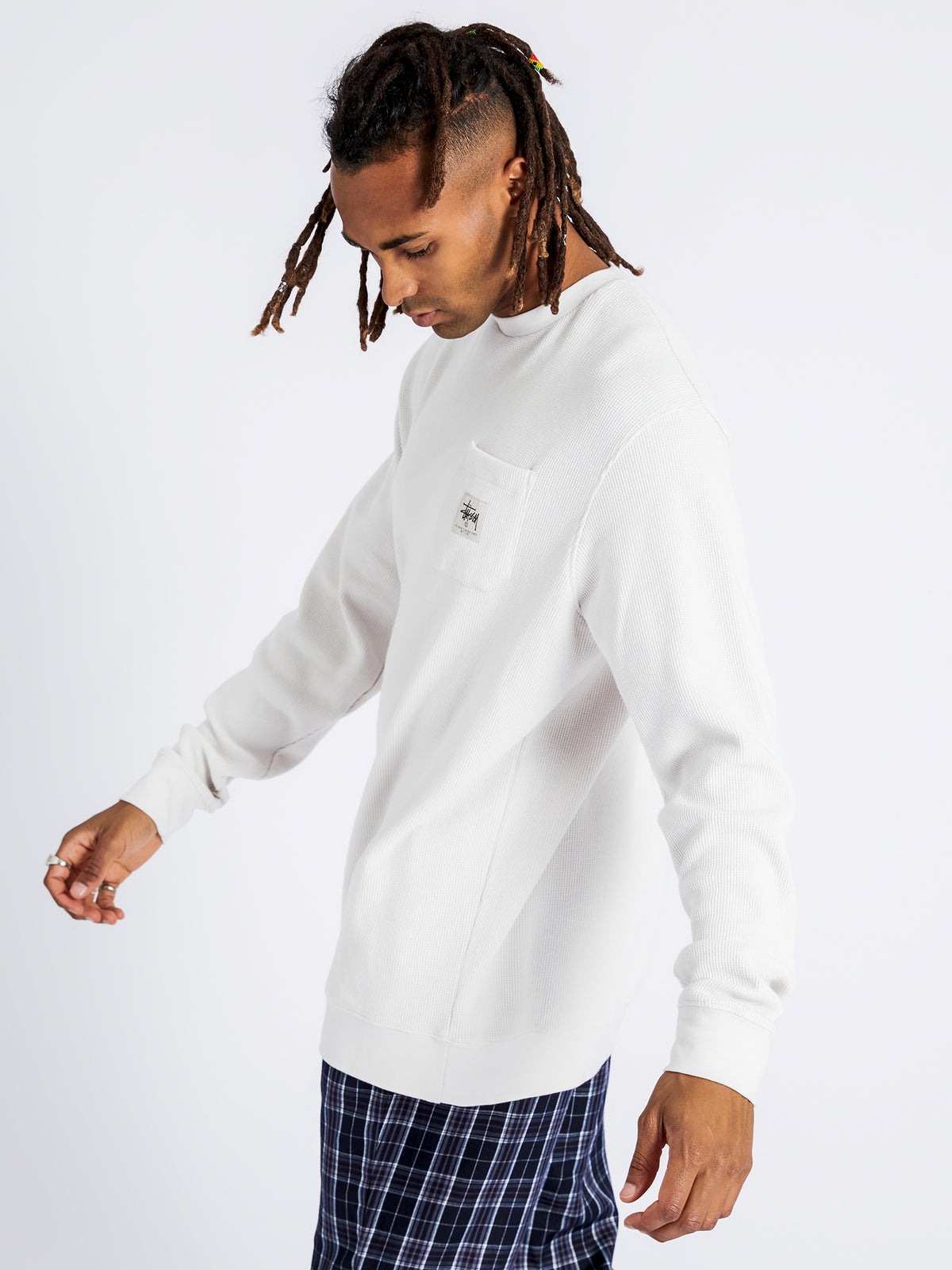 Waffle Long Sleeve Crew in White